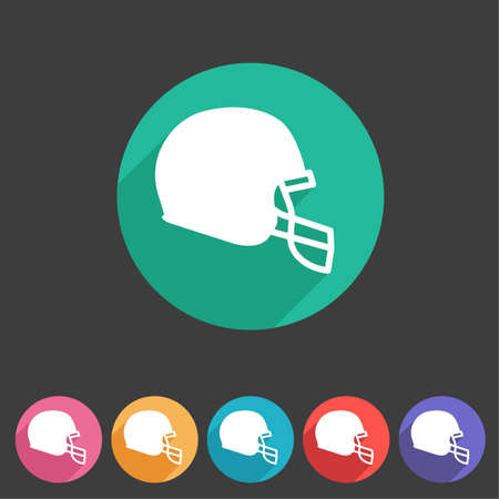 sports helmet: football helmet flat icon sign symbol  label set
