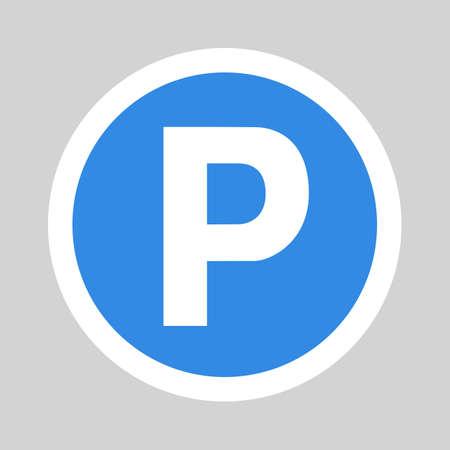 silhouette voiture: Parking icône plat signe symbole