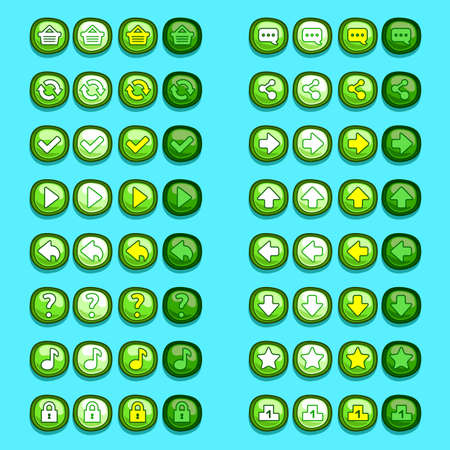 ui: green game icons buttons icons, interface, ui