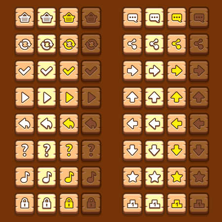 ui: wooden game icons buttons icons, interface, ui