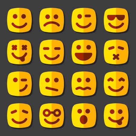 smiley pouce: Emotional carr� visages jaunes signe, ic�ne, ensemble