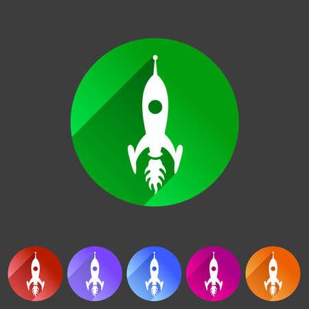 alien cartoon: Rocket icon flat web sign symbol logo label