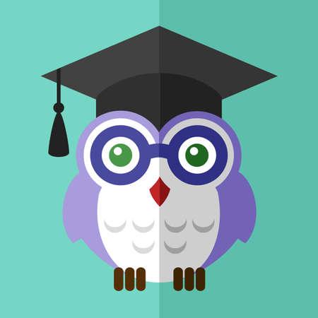 valedictorian: Graduation owl student  icon flat sign symbol label