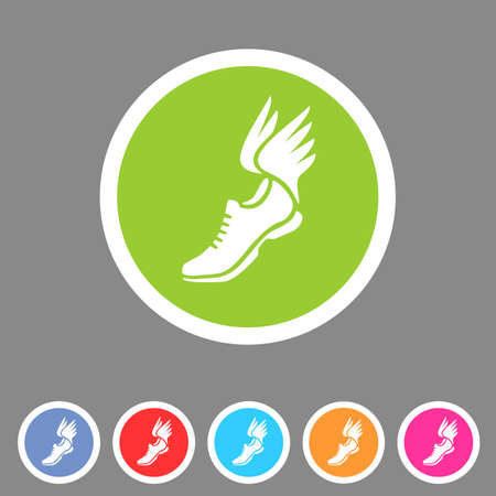 Running shoes wings icon flat web sign symbol logo label set Иллюстрация