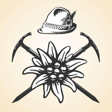 Edelweiss alpine oktoberfest vintage tyrolean style hat feather set