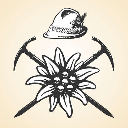 mountain climber: Edelweiss alpine oktoberfest vintage tyrolean style hat feather set
