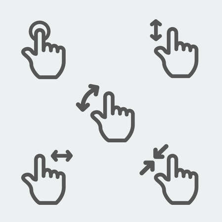 multi touch: Multi touch gestures icon thin line web sign symbol logo label set Illustration