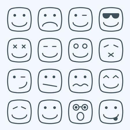 caras: Línea fina emocional plaza rostros amarillos conjunto de iconos