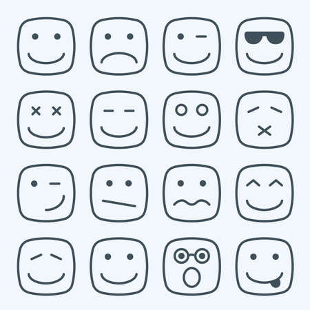 sad love: Thin line emotional square yellow faces icon set