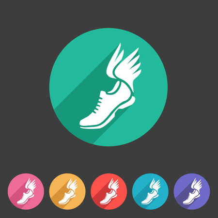 Running shoes wings icon flat web sign symbol   label set Иллюстрация