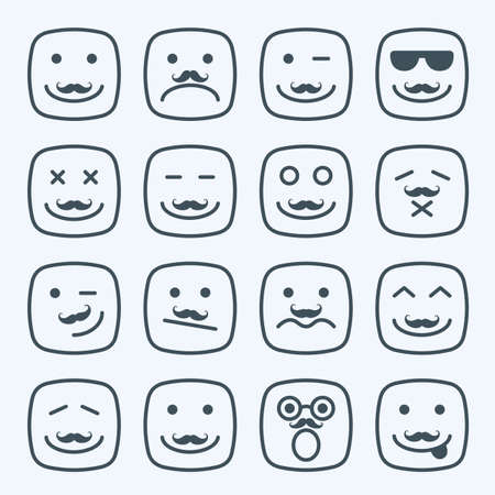 bigote: Línea fina bigote emocional plaza rostros amarillos conjunto de iconos