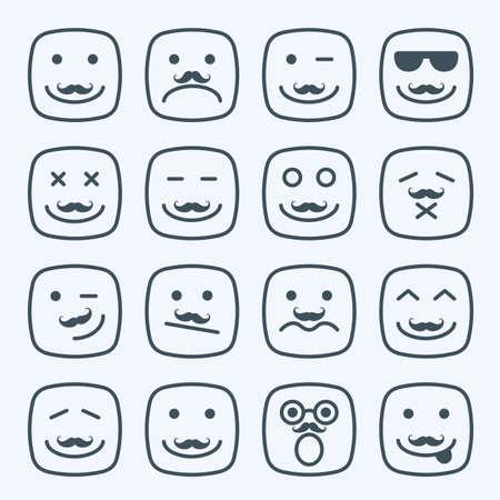 moustache: Thin line emotional moustache square yellow faces icon set Illustration