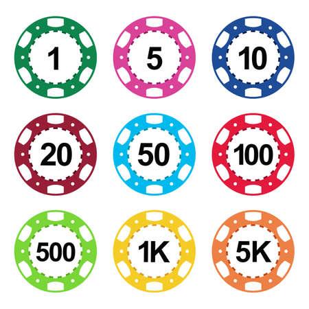 black jack: Gambling casino poker chips color sign set Illustration