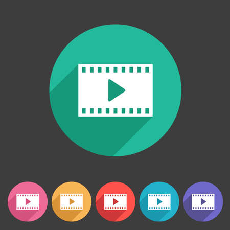 play button: Film video cinema photo icon flat web sign symbol   label set