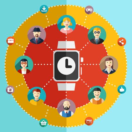 circulo de personas: Red social ilustración plana conjunto avatares reloj tierra Vectores