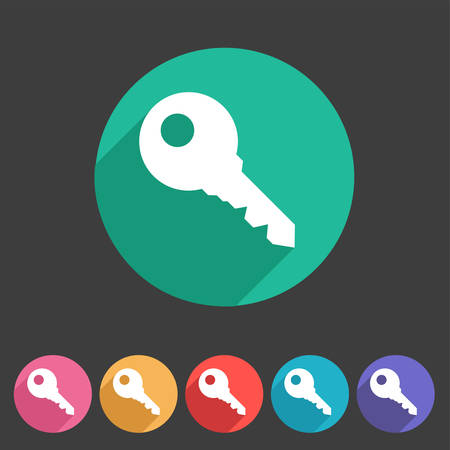 log in: Key lock log in icon flat web sign symbol label set Illustration