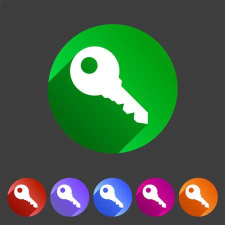 key in lock: Key lock log in icon flat web sign symbol label set Illustration