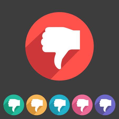 round icons: Thumbs down dislike icon flat web sign symbol logo label set Illustration