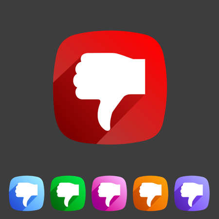 website button: Thumbs down dislike icon flat web sign symbol logo label set Illustration