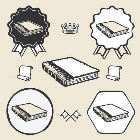 closed book: Vintage book symbol emblem label collection set