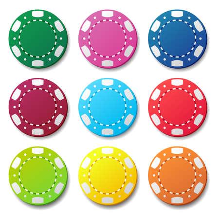 online roulette: Gambling casino poker chips color sign set Illustration