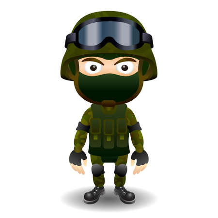 male: Soldier military character combat black mask male
