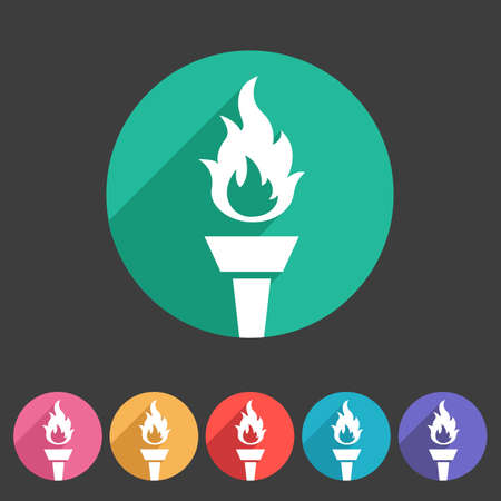 torch flame: Torch flame fire icon flat web sign symbol logo label set