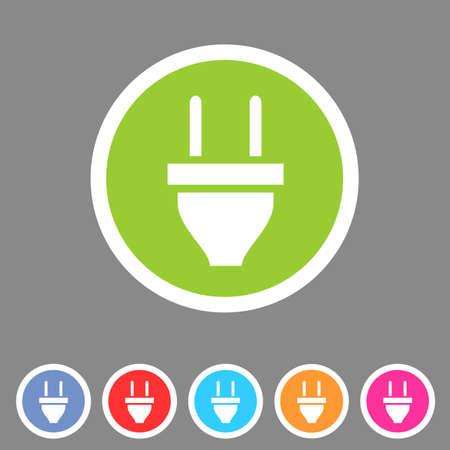 electrical wires: plug power energy icon flat web sign symbol logo label set Illustration