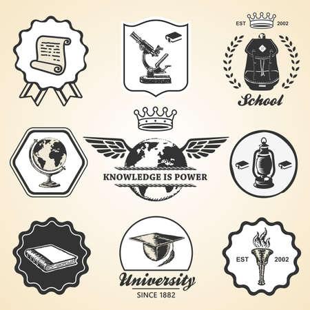 teach: Education school academy university vintage symbol emblem label collection set