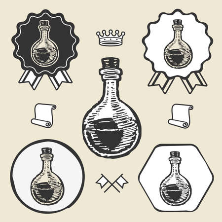 poison bottle: Lab tube glass vintage symbol emblem label collection set