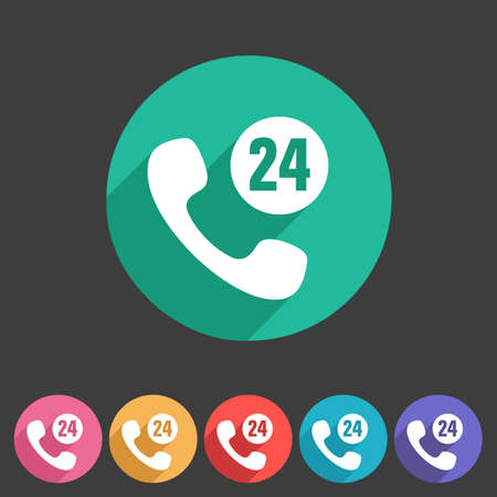 support center: 24h call support center icon flat web sign symbol logo label set