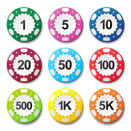 poker chips: Gambling casino poker chips numbers color sign set