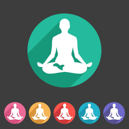 asana: Yoga asana icon flat web sign symbol logo label set Illustration