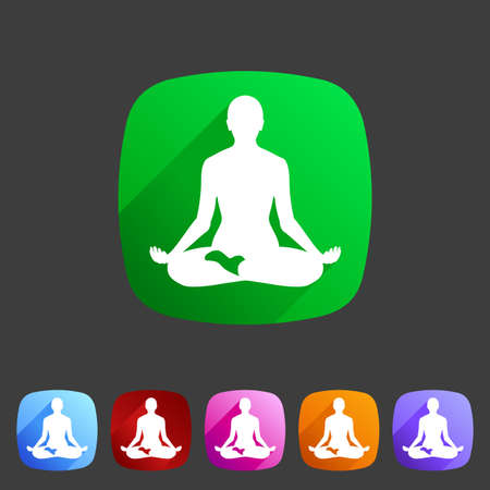 exhale: Yoga asana icon flat web sign symbol logo label set Illustration