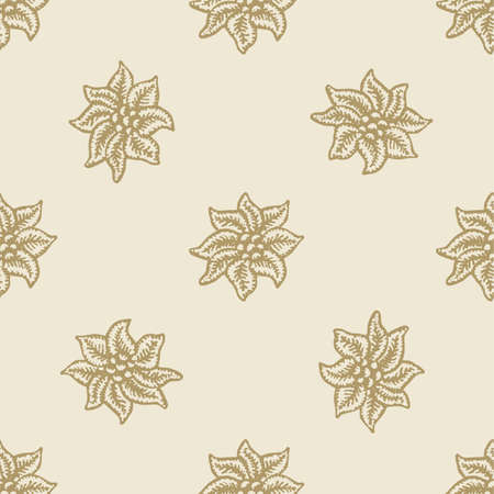 christmas flower: poinsettia christmas flower pattern seamless background set