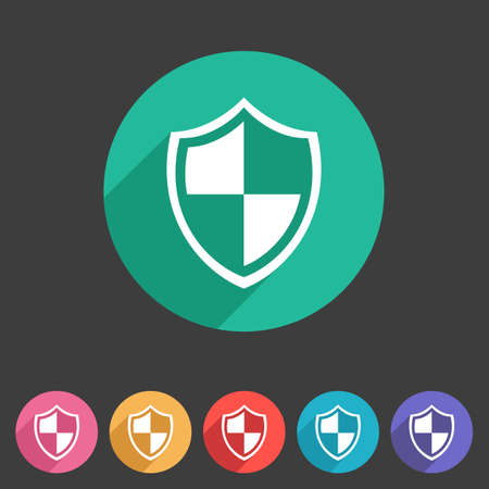 security symbol: Shield icon flat web sign symbol logo label Illustration