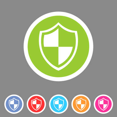 shield set: Shield icon flat web sign symbol logo label Illustration