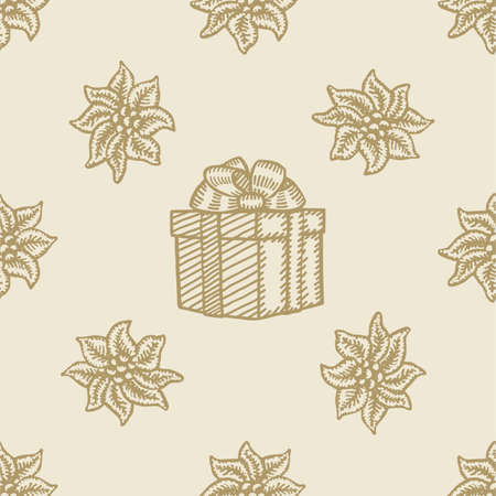 victorian wallpaper: poinsettia christmas gift box flower pattern seamless background set