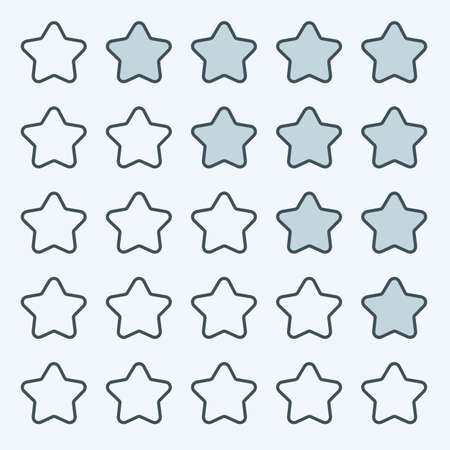 star icon: Thin line game rating stars icons buttons interface set