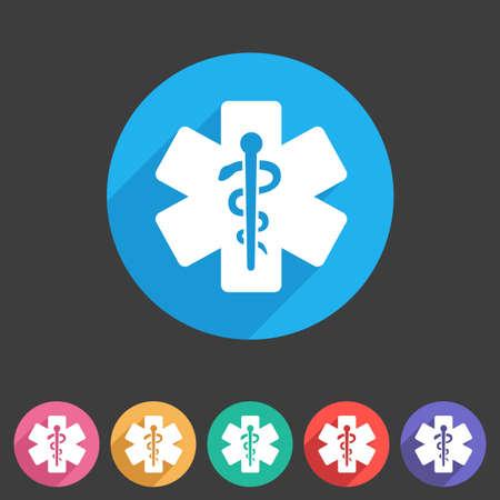 personas enfermas: icono azul m�dica banda plana etiqueta de s�mbolo Vectores