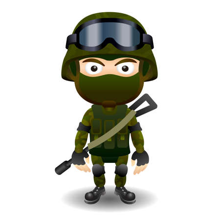 military and war icons: Soldier military character gun combat black mask male