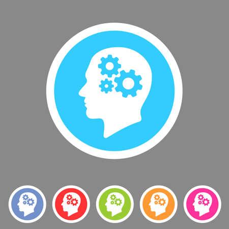 design objects: Head think gear icon flat web sign symbol label set