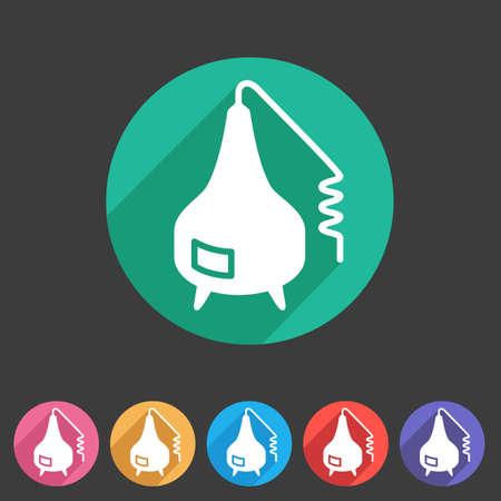 distillation: Distillation apparatus icon flat web sign symbol label set