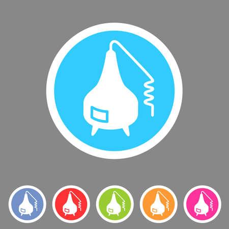 destilacion: La destilación icono de signo aparato de banda plana del conjunto de etiquetas símbolo Vectores