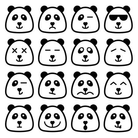 oso panda: Panda cuadrado emoji emocional caras planas conjunto de iconos