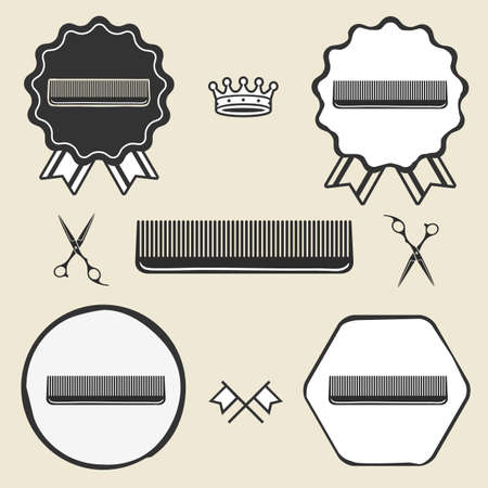 comb hair: Comb hair brush vintage symbol emblem label collection set