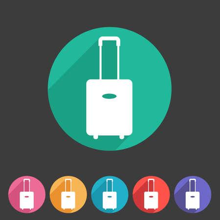 Gepäckkoffer Tasche Symbol flach Web-Zeichen-Symbol-Logo-Label-Set Illustration