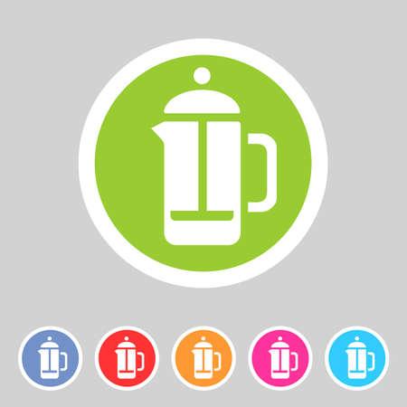 french label: french press coffee icon flat web sign symbol label set Illustration