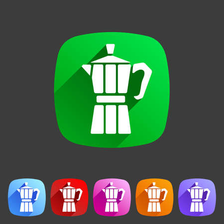 sign maker: Italian coffee maker moca  icon flat web sign symbol label set