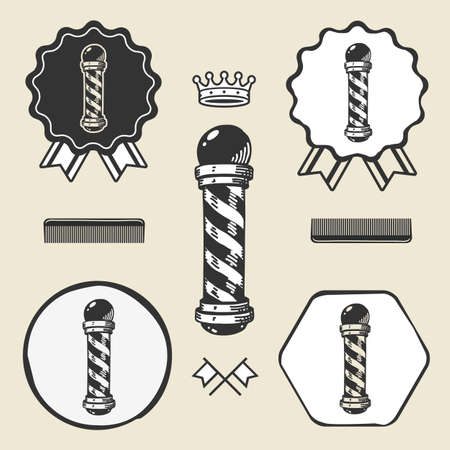 barber pole: Barber pole vintage symbol emblem label collection set Illustration